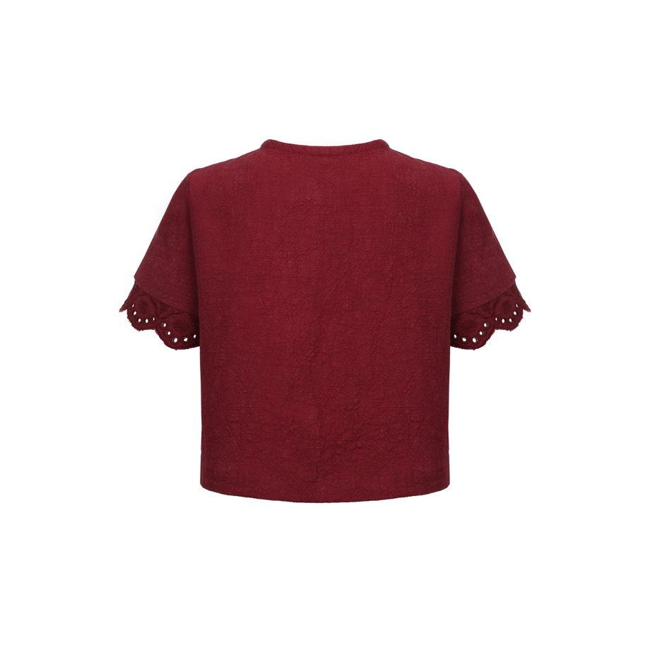 Рубашка из крапивы с ришелье цвета бордо JOY BORDEAUX