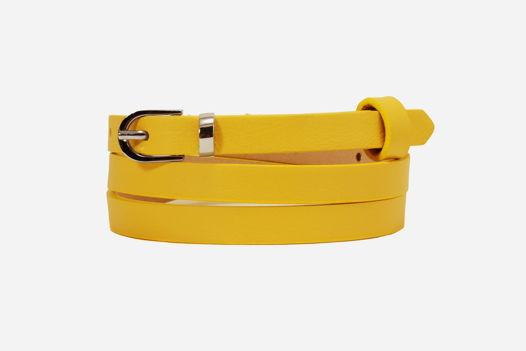 Узкий кожаный ремень ярко-желтый