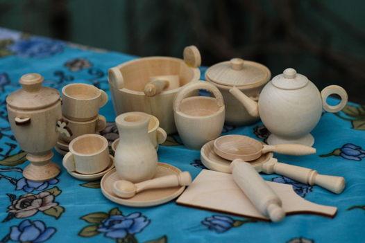 Набор кухонной миниатюрной кукольной деревянной посуды для игр и творчества