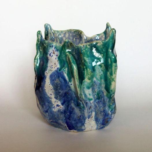 """Керамическая ваза для цветов или сухоцветов """"Холодный огонь"""" синяя"""