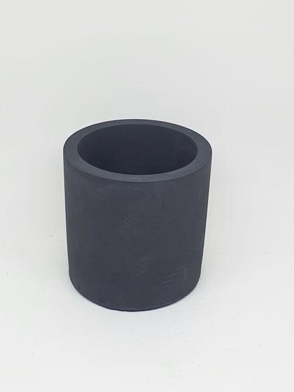 Кашпо из бетона черный цилиндр