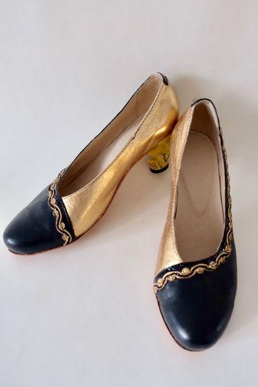 Черно-золотые туфли с динамическими каблуками. Размер 40