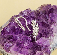Серебряные серьги-клаймберы Перья
