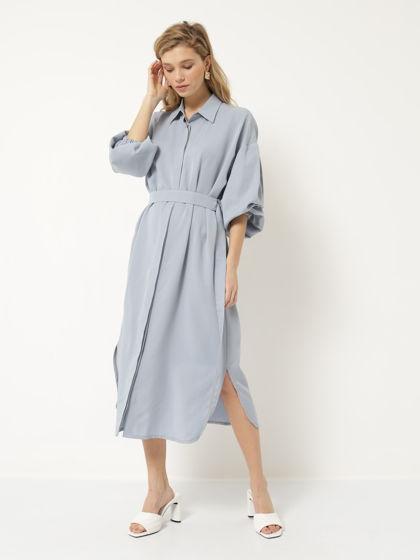 Платье рубашка голубое