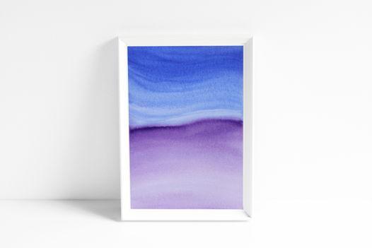 """Акварельный рисунок """"Сине-сиреневая волна"""""""