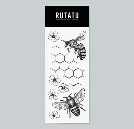 Переводная тату Пчела и цветы 358