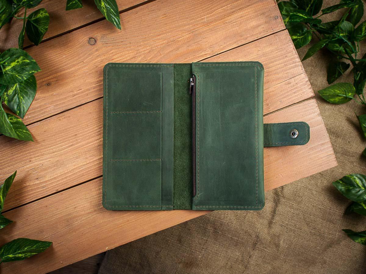 Кожаный кошелек -ESQUIRE- с отделение на молнии цвет Зеленый