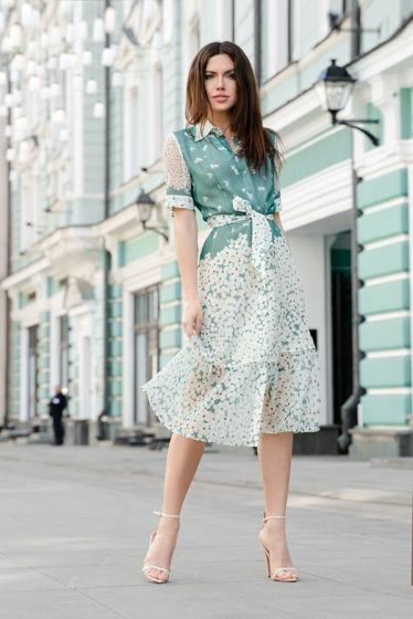 Шёлковое платье-рубашка MurMur с цветочным принтом