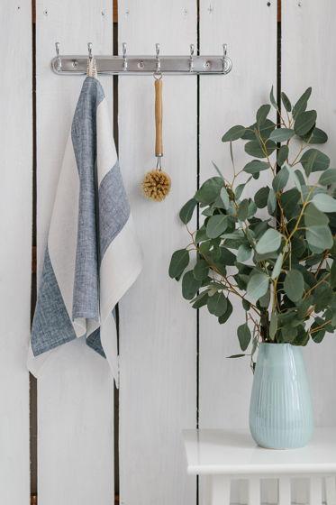 Полотенце для кухни из умягченного льна сине-белая широкая полоска