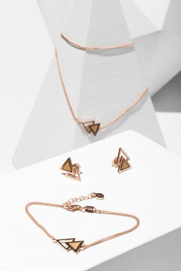 Колье из розового серебра коллекция Двойной треугольник