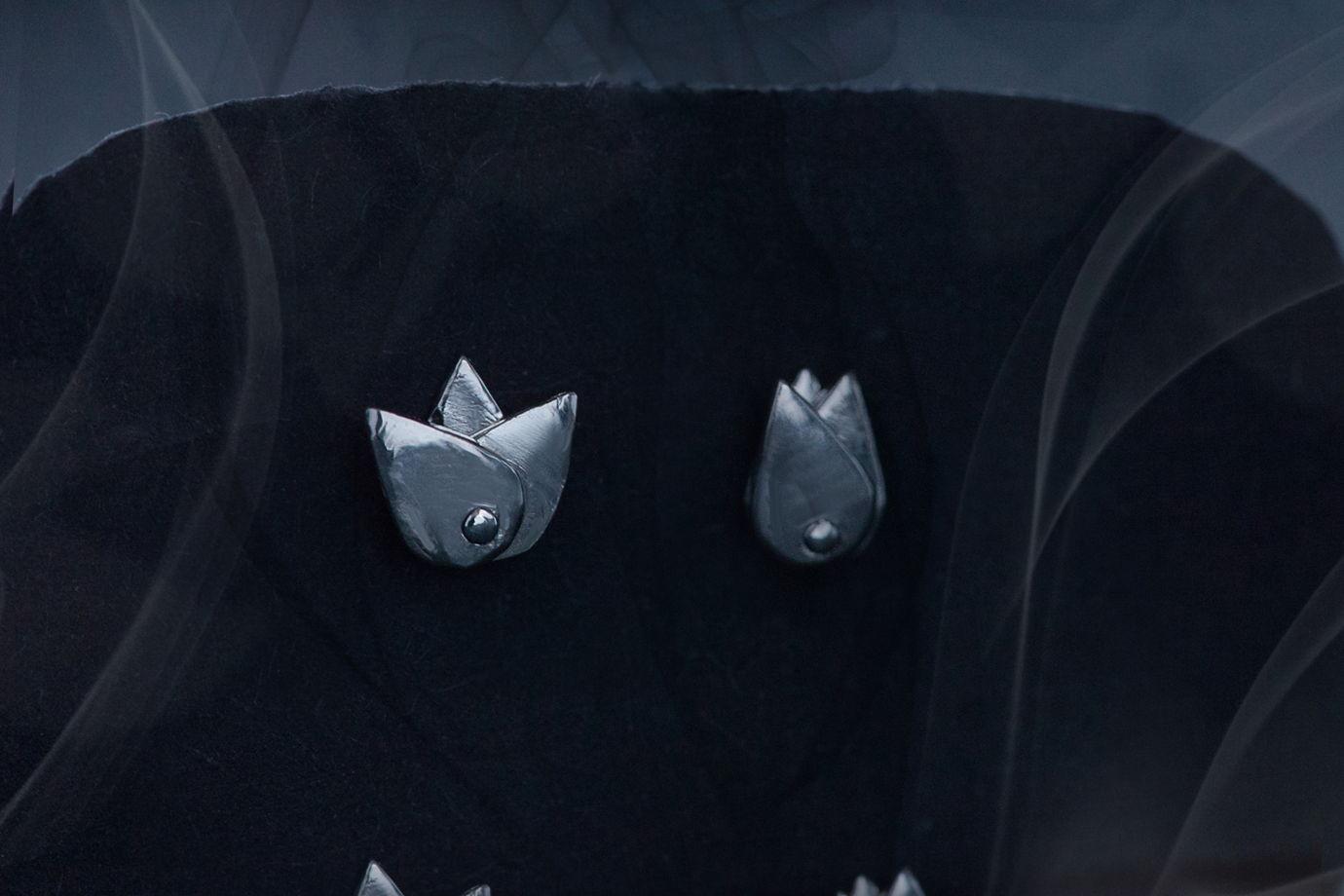 Серебряные серьги-гвоздики, Бутоны, подарок для нее