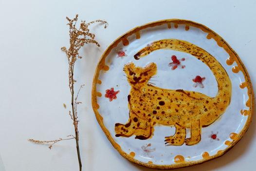 Обеденна тарелка с леопардом. Наив