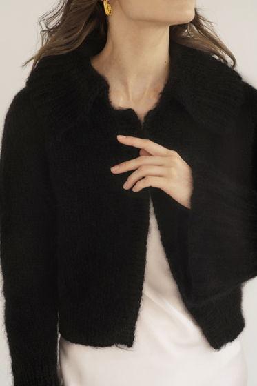 Черный кардиган из шерсти и мохера с рукавами-воланами