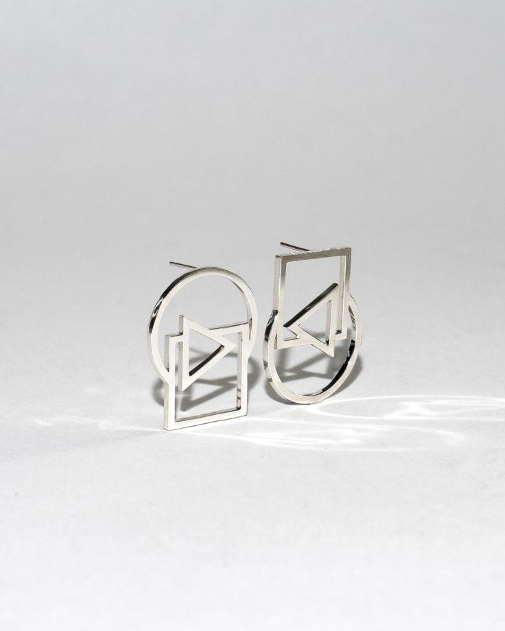 Женские серебряные серьги ТРИПТИХ ассиметричные