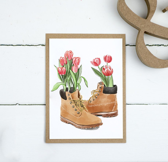 Открытка с ботинками, 10х15, почтовая открытка с крафтовым конвертом