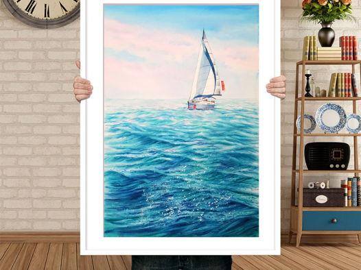 """Картина """"Белый парусник"""" (38 х 56 см). Акварель"""
