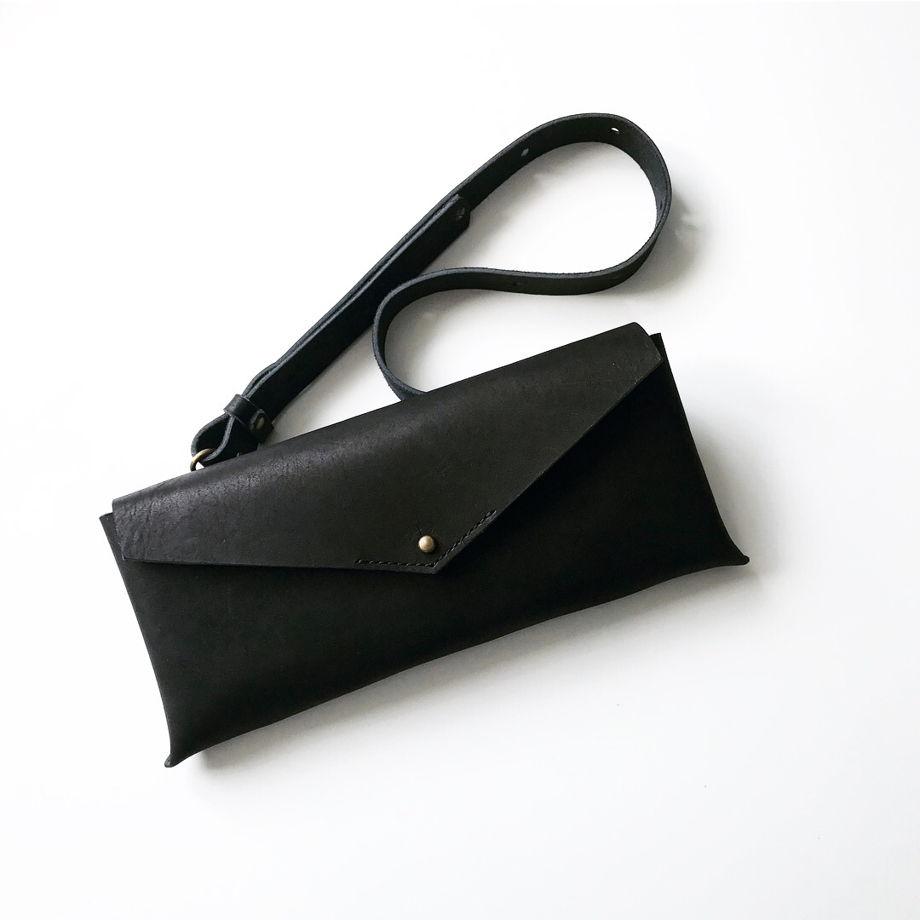 Кожаная сумка поясная/клатч Envelope Black