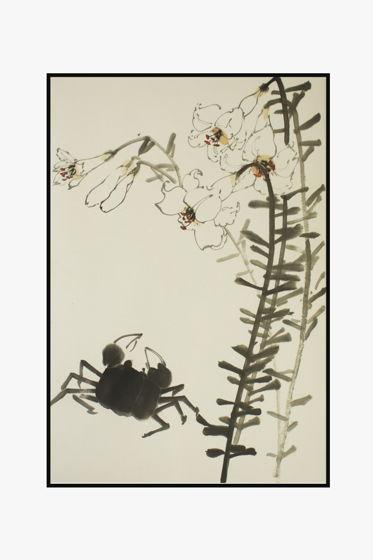 """""""Одинокий краб любуется красотой белых лилий"""", картина в традиционном китайском стиле се-и   (69 * 46 см)"""