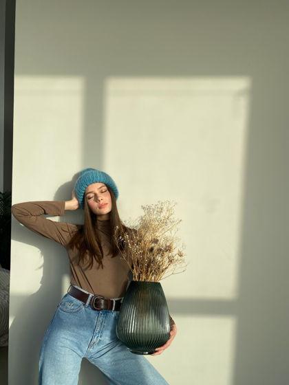 Двухслойная шапка из мохера, цвет бирюзовый