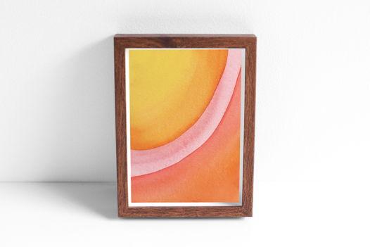 """Акварельный рисунок """"Лучи цвета: желтый-оранжевый-красный №1"""""""