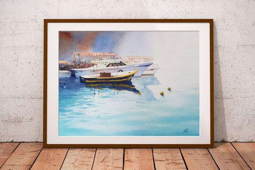 """Акварельная картина """"Морской причал"""" (36 х 26 см)"""