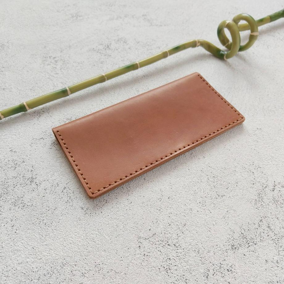 Кожаное портмоне карамельного цвета