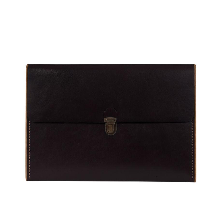 """Клатч (папка) ручной работы из натуральной кожи и дерева """"ШАНТИ"""",  черный цвет"""