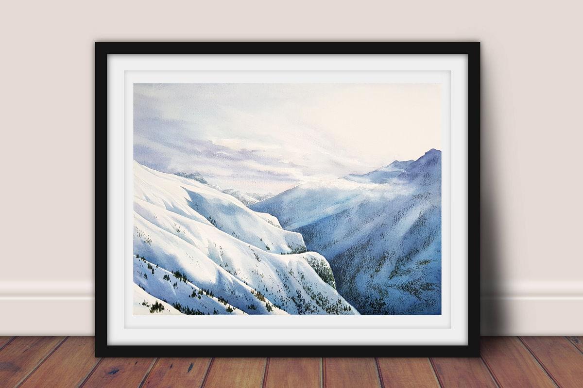 """Акварельная картина с горами """"Итальянские Альпы"""" (38 х 28 см)"""
