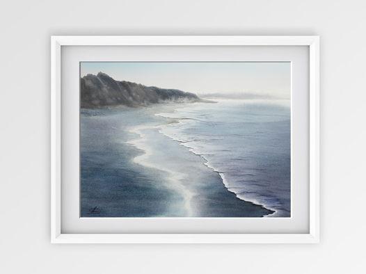 """Акварельная картина """"Пляж"""" (38 х 28 см)"""