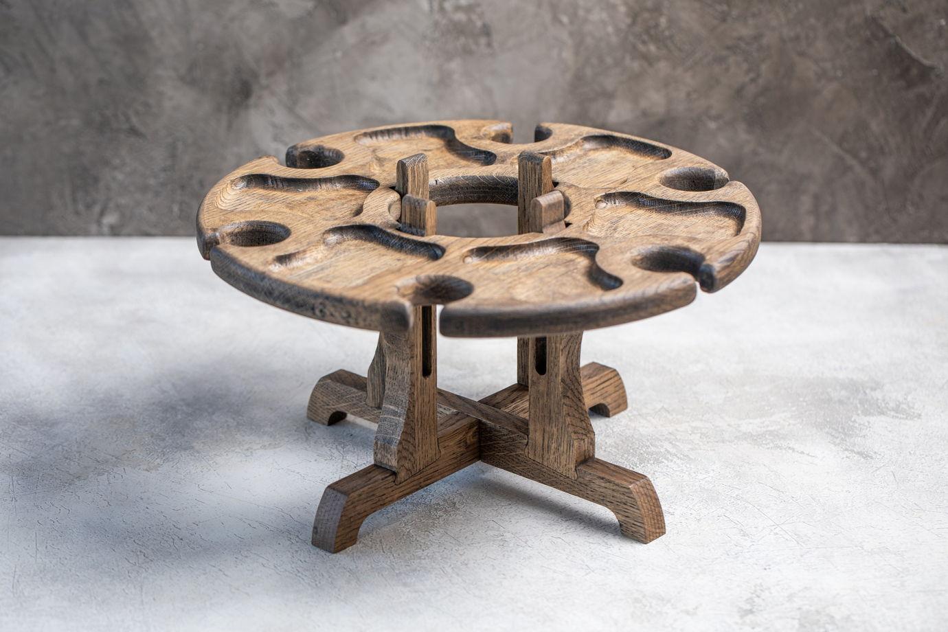 """Винный столик на шесть бокалов, местом для бутылки. Цвет """"темный орех"""""""