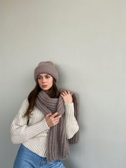 Комплект двухслойная шапка+шарф из мохера, цвет норка