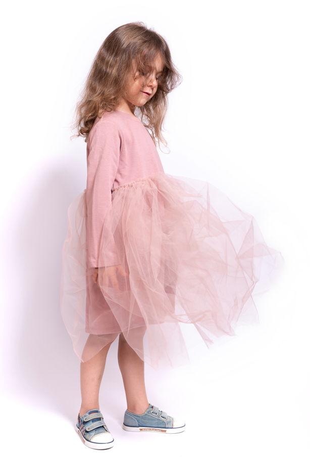Трикотажное платье с юбкой из фатина розовое