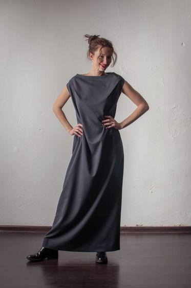 Платье из черного хлопка со спущенной линией плеча SOM