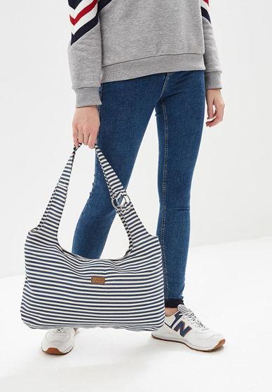Пляжная женская сумка из брезента в полоску