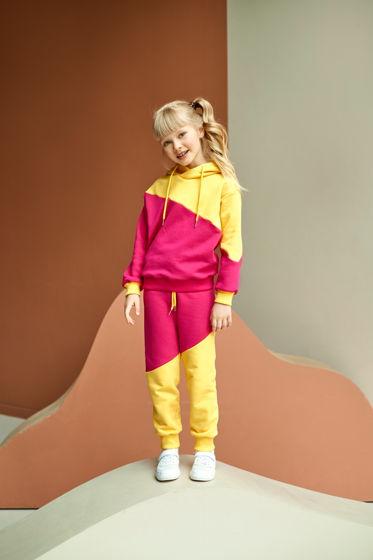 Спортивный костюм из футера розово-желтого цвета для девочки Ray