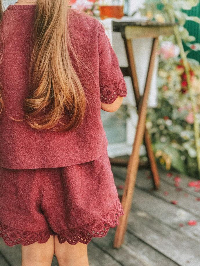 Шорты из крапивы с ришелье цвета бордо GLORY BORDEAUX