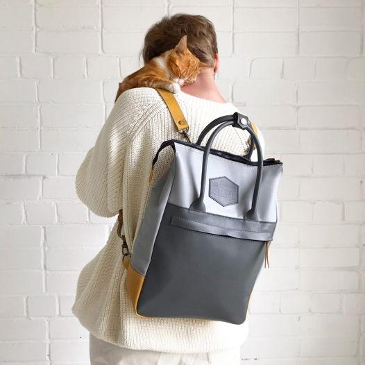 Кожаный рюкзак-сумка Urban Pack Gray/Wheat