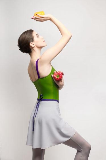 Юбка с запахом серая с контрастным поясом для балета / хореографии | 2 длины