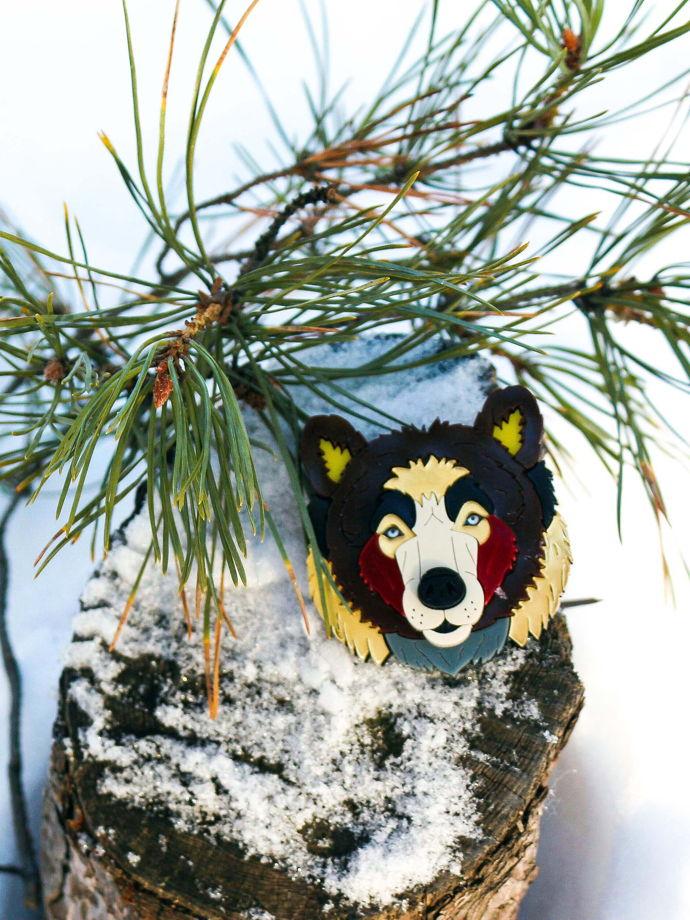Брошь Бурый Медведь, Siberia / органическое стекло