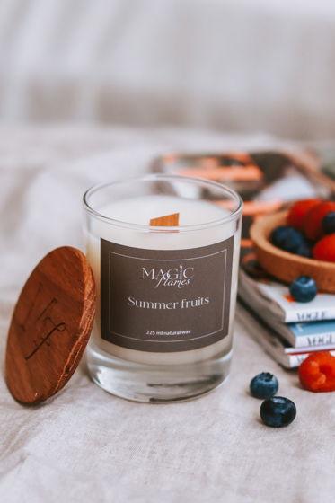 """Ароматическая кокосовая свеча """"Summer fruits"""" с древесным фитилем ручной работы"""
