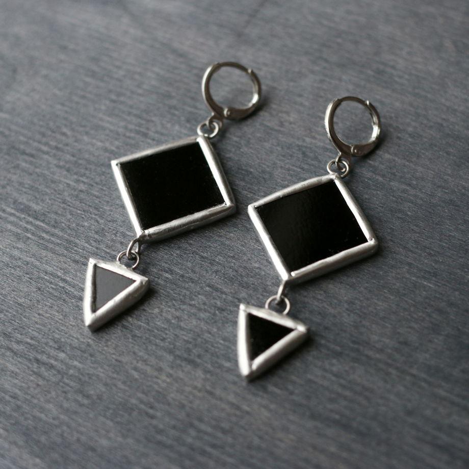 Серьги ромб и треугольник черные