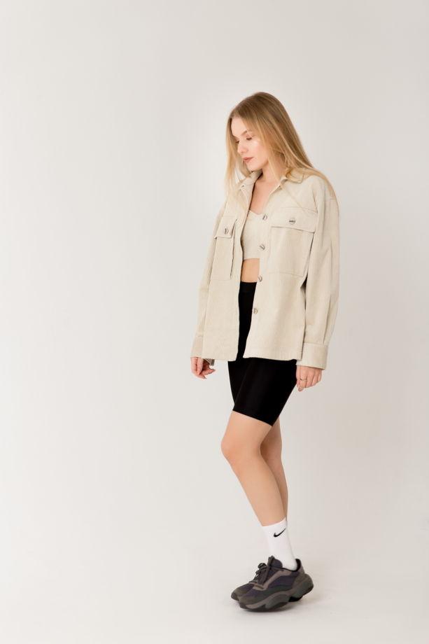 Рубашка из крупного вельвета силуэта oversize с карманами портфель