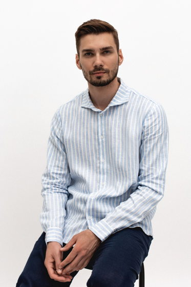 Льняная рубашка мужская в полоску