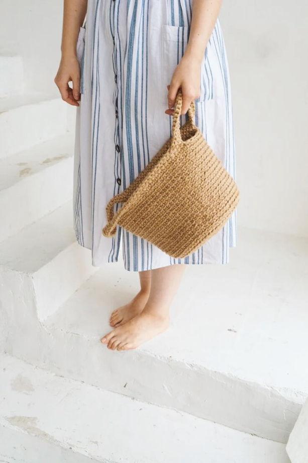 Сумка-корзина с узором ручной работы из джута