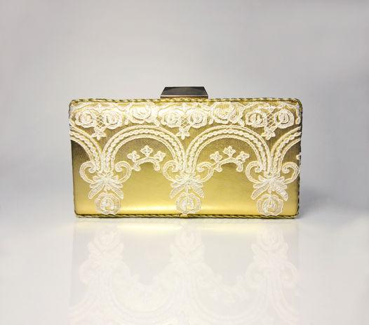 Клатч кожаный золотой с итальянским кружевом Golden Lace