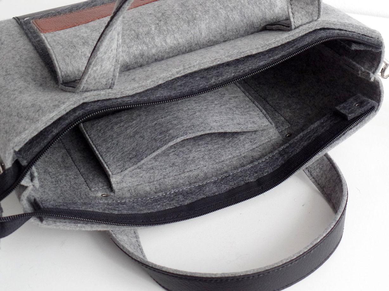 Светло-серая сумка-портфель из фетра и натуральной кожи