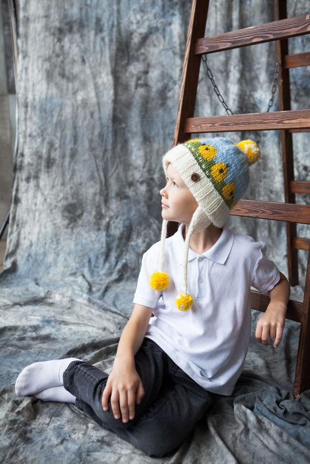 """Цветная детская зимняя шапка """"Цыплята"""" из 100%ной мягкой шерсти"""