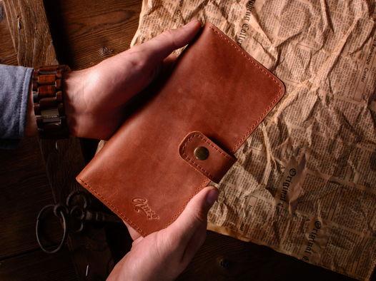 Портмоне из кожи -ESQUIRE- кошелек с отделением для монет и телефона цвет Коньяк