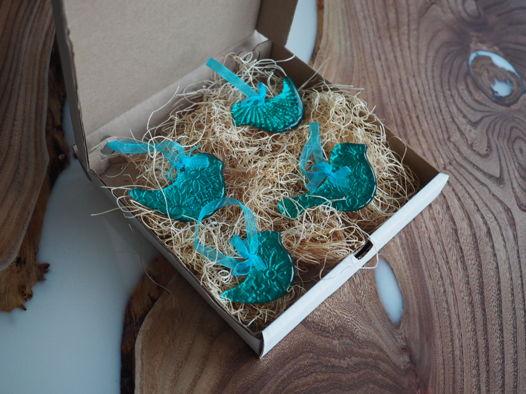 Набор бирюзовых новогодних ёлочных игрушек «Птички»