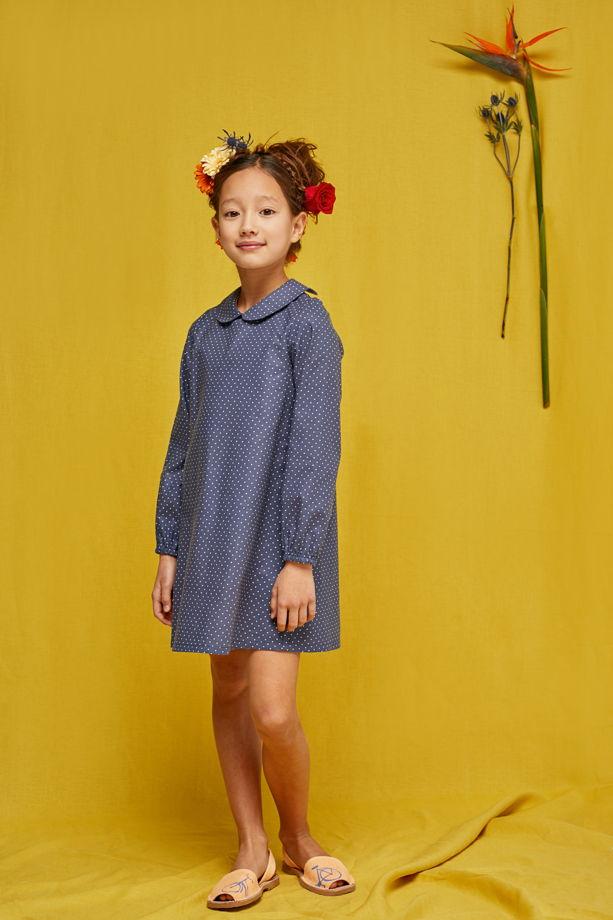 Платье для девочки Василиса Премудрая (горох на синем)